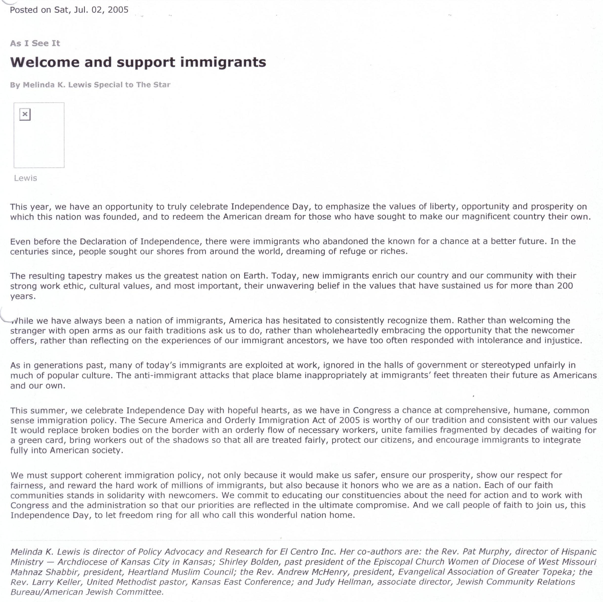 sample letters to the editor welcome and support immigrants